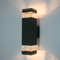 사각 라인 방수 2등 벽등 흑색